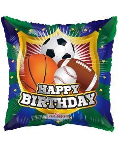 Globo Metalico #18 Happy Birthday Deportes