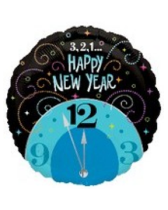 Globo Metalico 3 2 1 Happy New Year 18""
