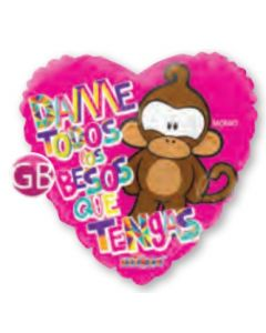 Globo Metálico Amor y Amistad Monky Dame Besos Gelly Beans 18""
