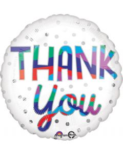 Globo Metálico Thank You Silver Dots 18""