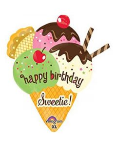 "Happy Birthday Sweetie cono de nieve delicioso Jumbo 36"" (91cm)"