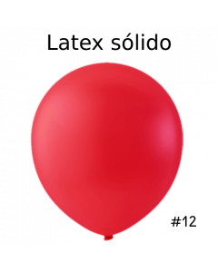 "Globo Látex Sólido Color Rojo Brillante 12"" (50 piezas)"