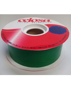 Liston Mate Celosa # 9 Liso Color Verde 40 mts Para Envoltura de Regalo